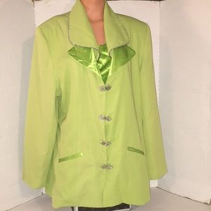 Bright Green Rhinestone Embellished Jacket Top 22